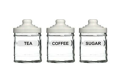 (White) - Premier Housewares Glass Tea Coffee and Sugar Set - White. Huge Saving