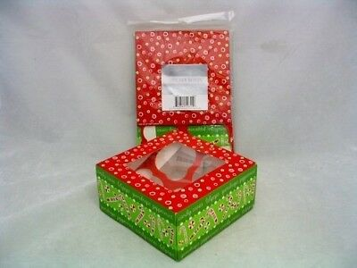 Christmas Holiday Candy Cane Cupcake Box Set of 2 Hold 4 Each. Shipping Included