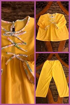 1970s Girls Pajamas Yellow Long Sleeve 2 Pc Bows Elastic Soft NEW VNTAGE Sz 6