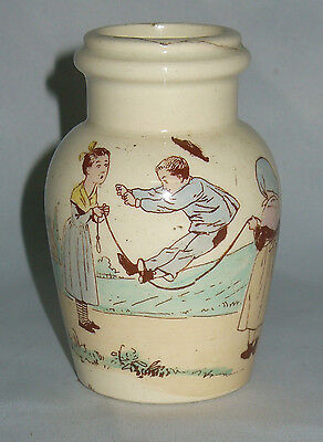 Rare Modele De Pot A Moutarde En Faience Luneville Sarreguemines Enfants Richard