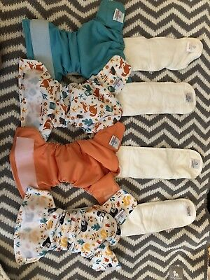 Bubble Bubs Pebbles x 4 Cloth Nappies ** New / Never Worn **