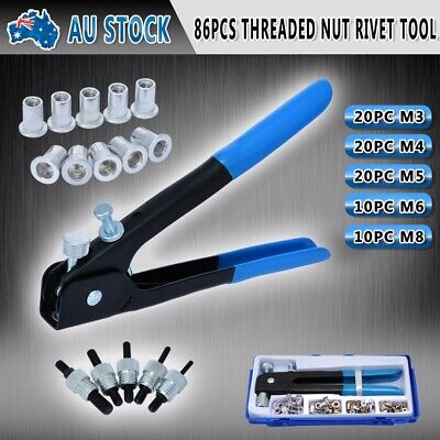 Threaded Nut Rivet Tool Riveter Rivnut Nutsert Gun Riveting Kit M3-M8 AU Stock
