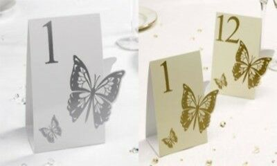Elegant Butterfly White and Silver or Gold and Ivory Table Numbers