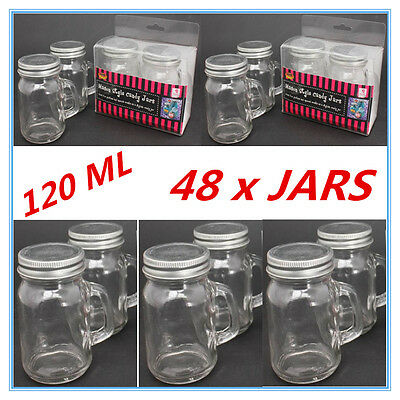 48 X Mini Small Candy Lolly Mason Jars 120Ml With Handle Silver Lid Party Even D