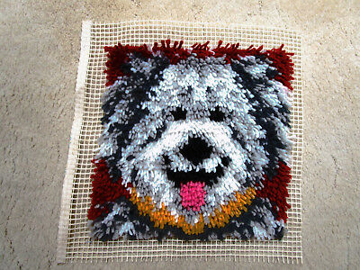 Completed Latch Hook Shaggy Sheep Dog 30 X 30Cms. Ready To Frame