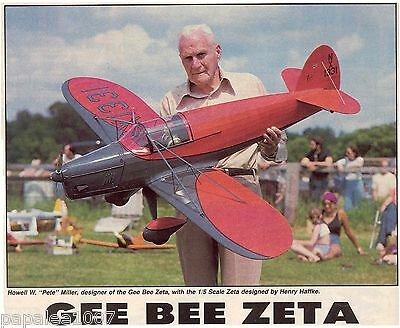 """Model Airplane Plans (RC): GEE BEE ZETA 1/5 Scale 59"""" for .60ci by Henry Haffke"""