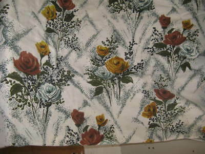 VINTAGE 1950'S BARK CLOTH CURTAINS Fabric HAND screen printed PAIR of curtains