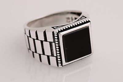 Turkish Handmade Jewelry Square Black Onyx 925 Sterling Silver Men's Ring Size 9