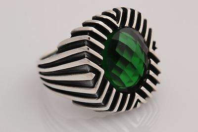 Turkish Ottoman Jewelry Oval Emerald 925 Sterling Silver Men's Ring Size 9 R 3/4