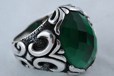 925 Sterling Silver Turkish Ottoman Jewelry Emerald Stone Men's Ring Size 11.5