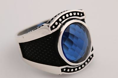 Turkish Ottoman Jewelry Oval Sapphire 925 Sterling Silver Men's Ring Size 8,9,10