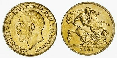 AUSTRALIA OR  KING GEORGE V 1910-1936 GOLD SOVEREIGN 1931-P Mint Perth