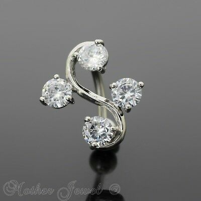 Reverse Simulated Diamond Dangle Belly Button Navel Silver Surgical Steel Ring