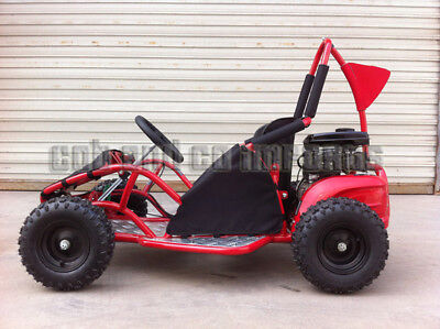 Kids 80cc GoKart Mini 4 Stroke Buggy Upgraded Engine Roll Bar Junior Red | Cob &