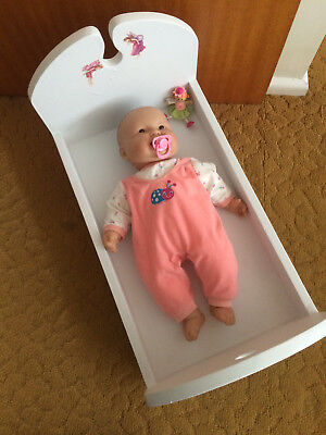Girls Wooden Doll Bed / Cot and Doll