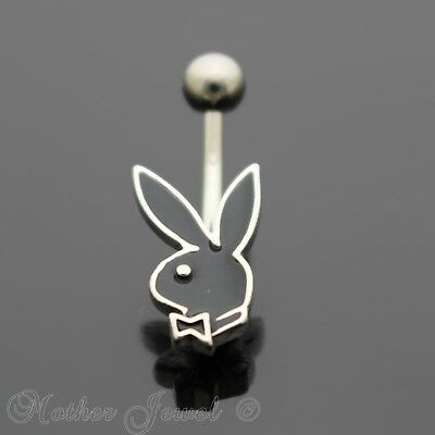 16G Black Playboy Bunny Rabbit Belly Button Navel Silver Surgical Steel Ring