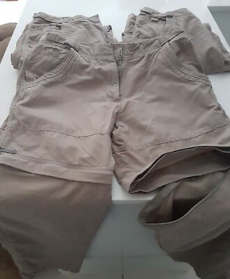 Gondwana ladies hiking pants/shorts  zip off legs size 10 x 3 pairs