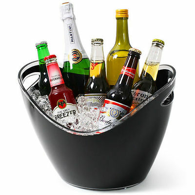 Champagne Beer Ice Bucket Black Acrylic Plastic Large Oval Drinks Pail Cooler