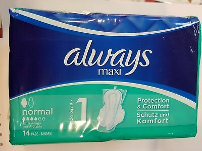 6 x Always Maxi Protection & Comfort with Wings x14 Pads