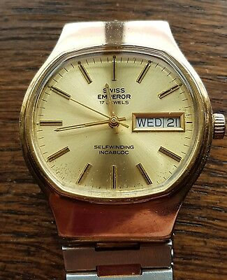 swiss emperor 17 jewel vintage mens swiss made automatic fully working day date