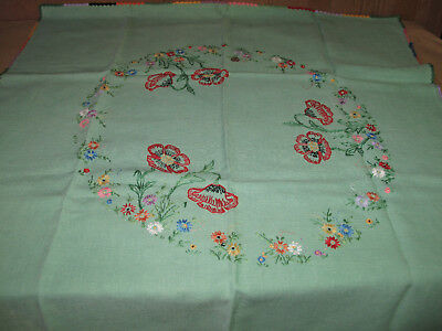 Poppies Vintage Linen Embroidered Tablecloth Table Cloth 85 X 86cm approx