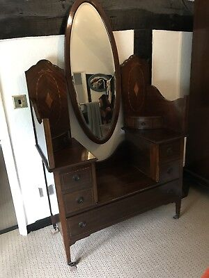 Antique Veneered Dressing Table Low Level. Long Mirror