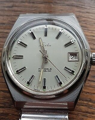 leda vintage swiss made 17 jewel mens watch all ss date working .
