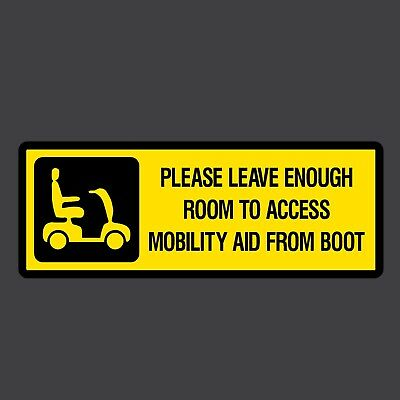 Please leave room for Mobility Aid Sticker 200x75mm - Disabled, Car, Parking