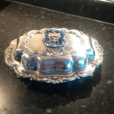 Antique Silver Plated on Copper Stylish Lidded Serving Entree Dish