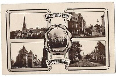 STOURBRIDGE Multiview RP Postcard Posted 1915, Greenfield Ave, High St Etc