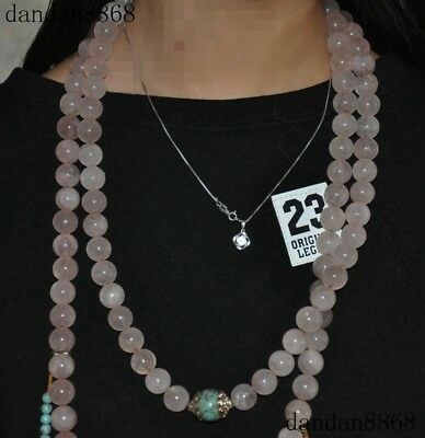 Pink Crystal Turquoise Tibet silver Qing Dynasty officials Bead Necklace Amulet