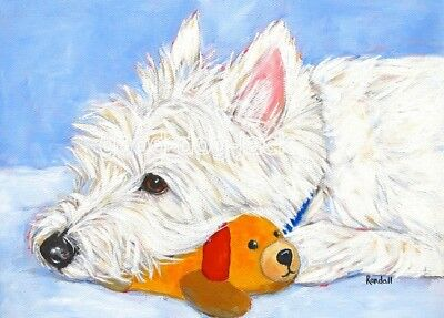 "West Highland Terrier ACEO WESTIE PRINT Painting ""THE BEST TOY!"" Dog Art RANDALL"