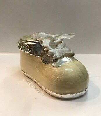 Shoe Boot Money Box Piggy Bank Silver Plated Boy or Girl Baby Christening Gift