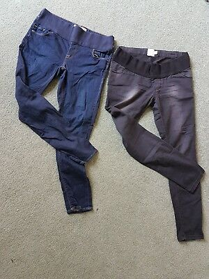 x2 pairs maternity jeans - asos washed black and topshop dark blue uk size 10