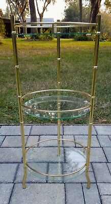 Hollywood Regency plant stand gold metal bamboo glass 3 tier display vintage