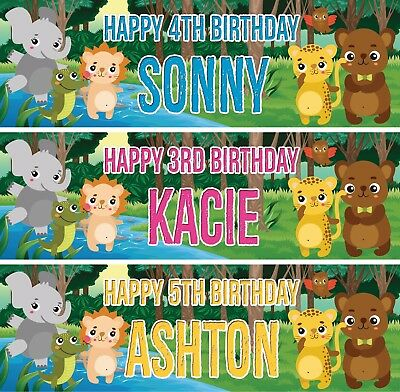 2 x personalised birthday banner jungle animal children kids party posters