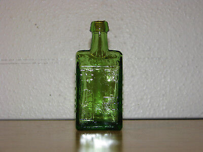 "Vintage Wheaton NJ Green Glass Bitters House Bottle E C Boozs Whiskey 3"" w/ cork"
