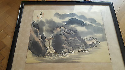 Vintage, Old Chinese Landscape River and Bridge Painting.