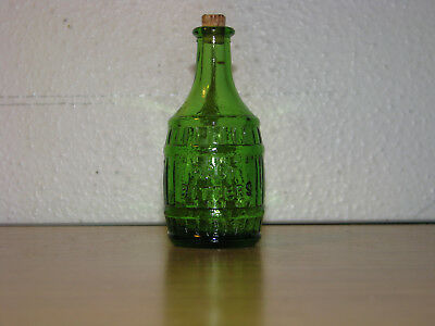 "Vintage Wheaton NJ Green Glass ©W70 Wine Grapes Bottle 3"" w/ cork"