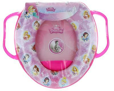Disney Princess Pink Soft Padded Toilet Training Seat With Handles Toddler Kids