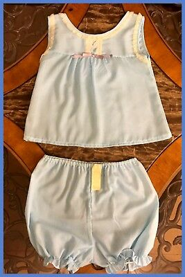 1970s NEW Vintage QUEENSBURY Toddlers 2 Piece Blue Pajamas Bloomers Short Sz 4