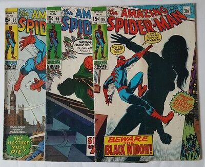 The Amazing Spider-Man #86 #90 #95 Death Of Captain Stacy 1st Black Widow Marvel