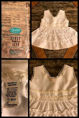 1970s NEW Vintage QUEENSBURY Baby Full Slip Dress White Ruffles Lace 12 Months