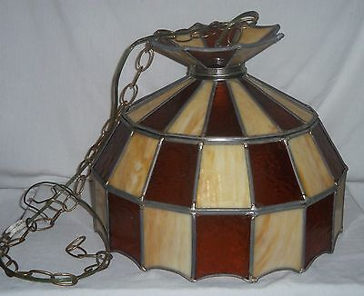Vtg Stained Glass Hanging Bar Ceiling Chandelier Light Fixture Lamp Shade