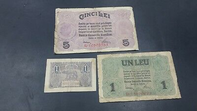 Romania Lot Of 3 Banknotes 1 Leu-5 Lei