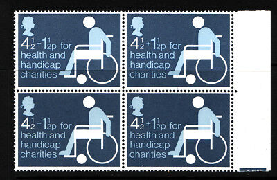 1975 GB Health and Handicap Fund,  NH Mint block of 4 ,  SG 970
