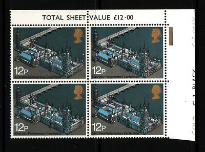 1975 GB, Westminster Palace,  NH Mint block of 4 ,  SG 988