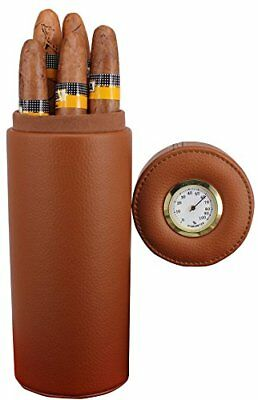 Leather Cigar Humidor Cedar Wood Lined Humidifier Portable Travel Case 5 Cigars