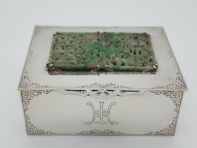 Edward Farmer Sterling silver And Chinese Jade Box Stamped On Base Edward Farmer
