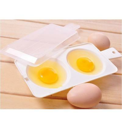 Microwave Oven Two Cup Eggs Round-shaped Poacher Cooker Steamer Cook Cookware HS